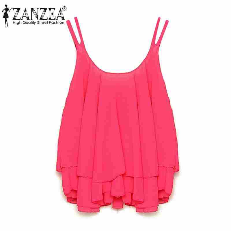 Hot Sale Zanzea 2016 Fashion New Women Summer Shirt Crop Tops Sexy Strap Flounced Tiered Chiffon Sleeveless Tank S-4XL 4 Color