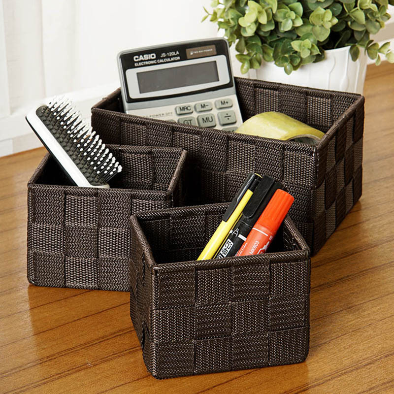 Desktop Storage Basket Woven Cloth Fitted Living Room Coffee Table Three Remote Control Storage