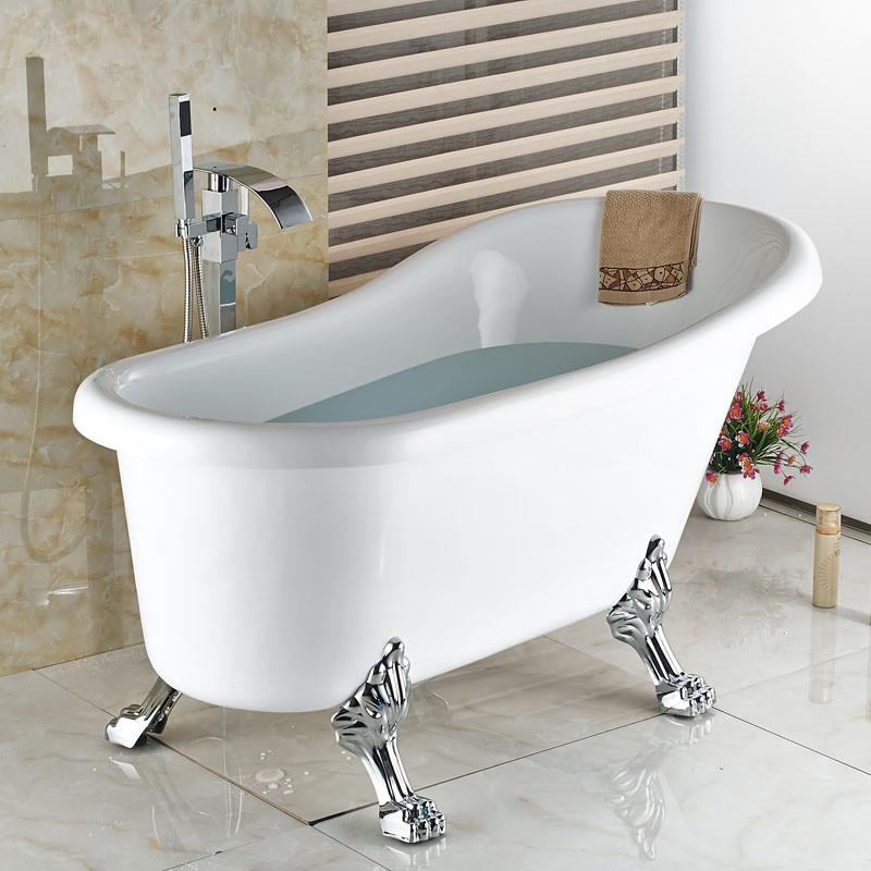 Купить Горячие новые Напольные Водопад Ванна Кран с Ручной душ Ванна Смеситель Free Standing