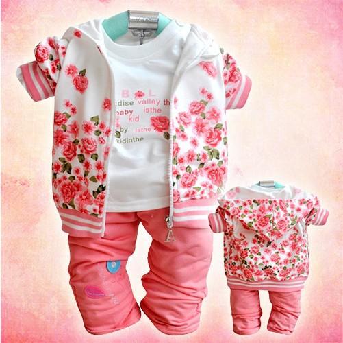 Free shipping,2015 Factory outlet baby clothing set velvet girl flower suit (coat+t-shirt+pants) autumn kids wear Retail BCS053(China (Mainland))