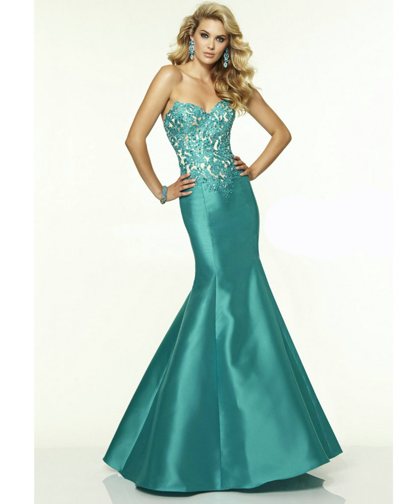 Satin Turquoise Dress Lace Sweetheart 2016 Fishtail Prom