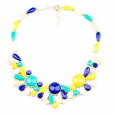 Hot 2015 Fashion Summer Jewelry Accessories Blue Pink Alloy Necklace Gold Chain Choker Flower Beaded Pendant Necklace For Women(China (Mainland))