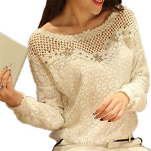 New 2016 Spring Women Short And Long Sleeve Fashion Lace Floral Blouse Shirts Hollow Out Diamonds Casual Tops Blusas Plus Size(China (Mainland))