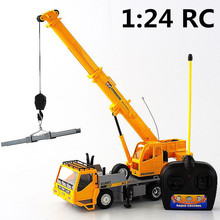 1:24 Remote control crane,Electric engineering vehicles,7-channel car,Wireless RC model toys,Oversized toy car,free shipping(China (Mainland))