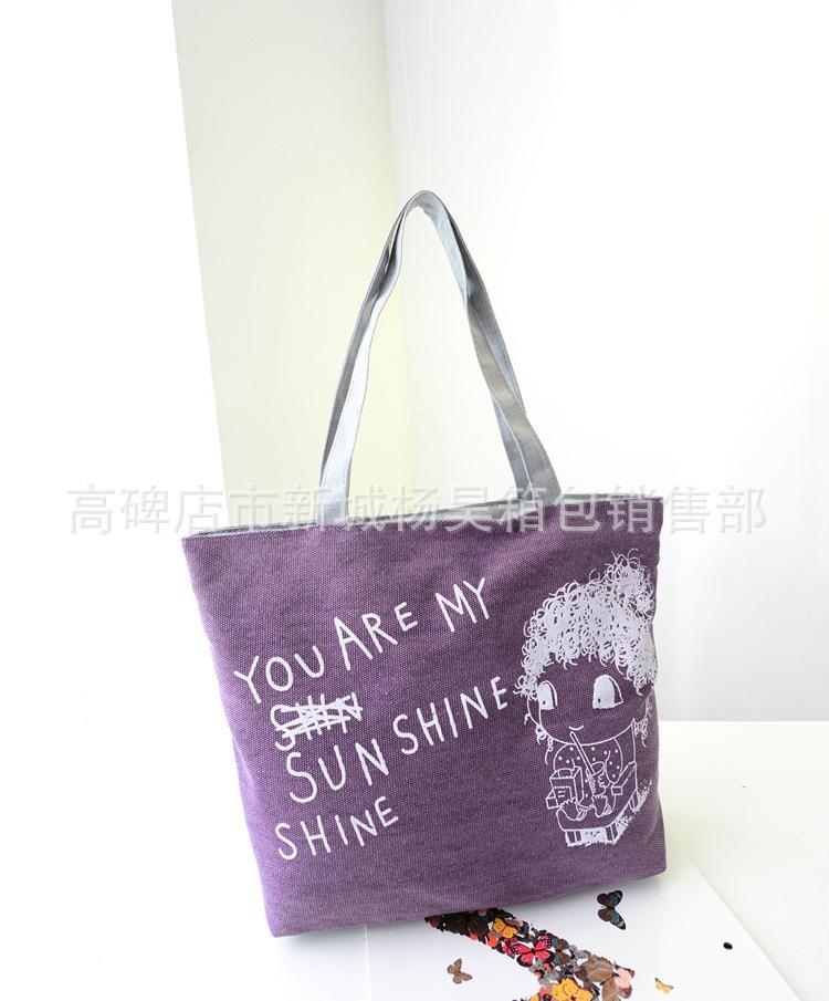 The new screen printing bag super cute fashion girl canvas bag t130(China (Mainland))