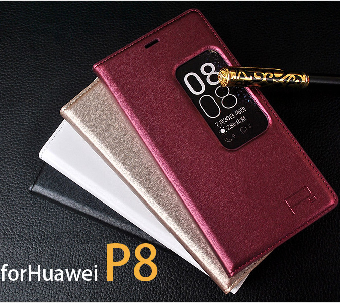 Original huawei P8 Flip Leather Mobile Phone Bag Case Accessories For huawei ascend P8 Cover Luxury Brand Smart Sleep Wake(China (Mainland))