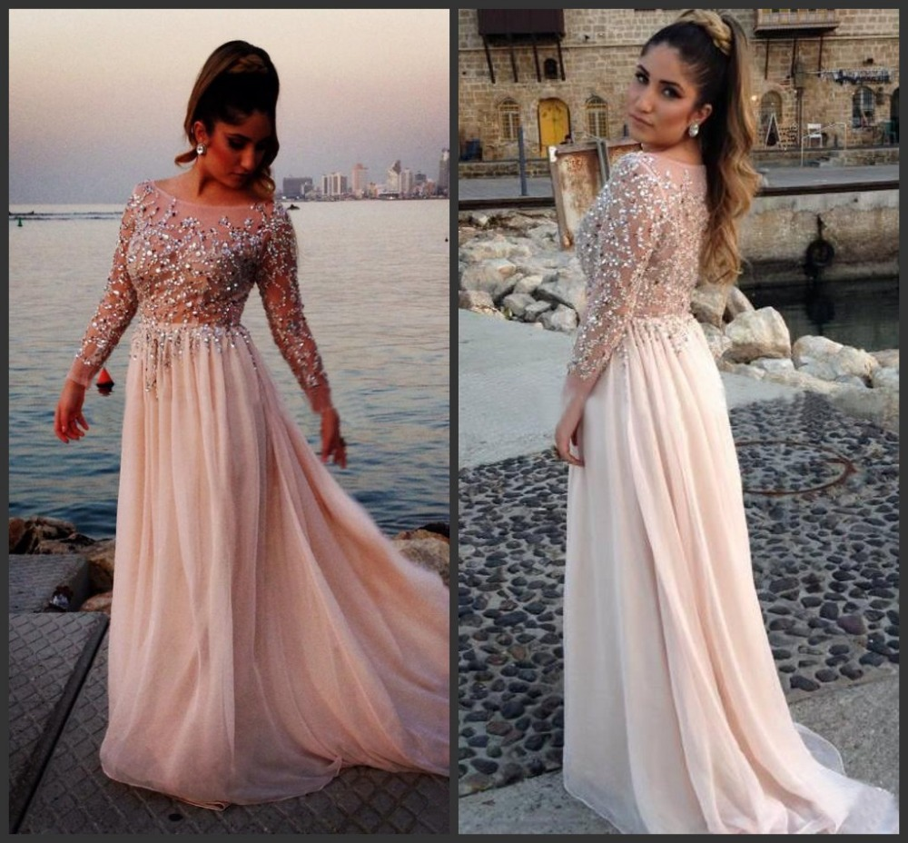2015 Vestidos Crystal Beaded Prom Dresses Sheer Scoop Neck Long Sleeves A-Line Chiffon Evening Gowns Pageant Dress a24 - Diana-Bridal store