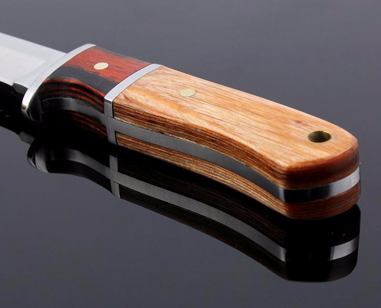 Buy Real Exquisite Wooden Handle Straight Knife Men Essential Portable Survival Tools Camping Hunting Fruit Knives cheap