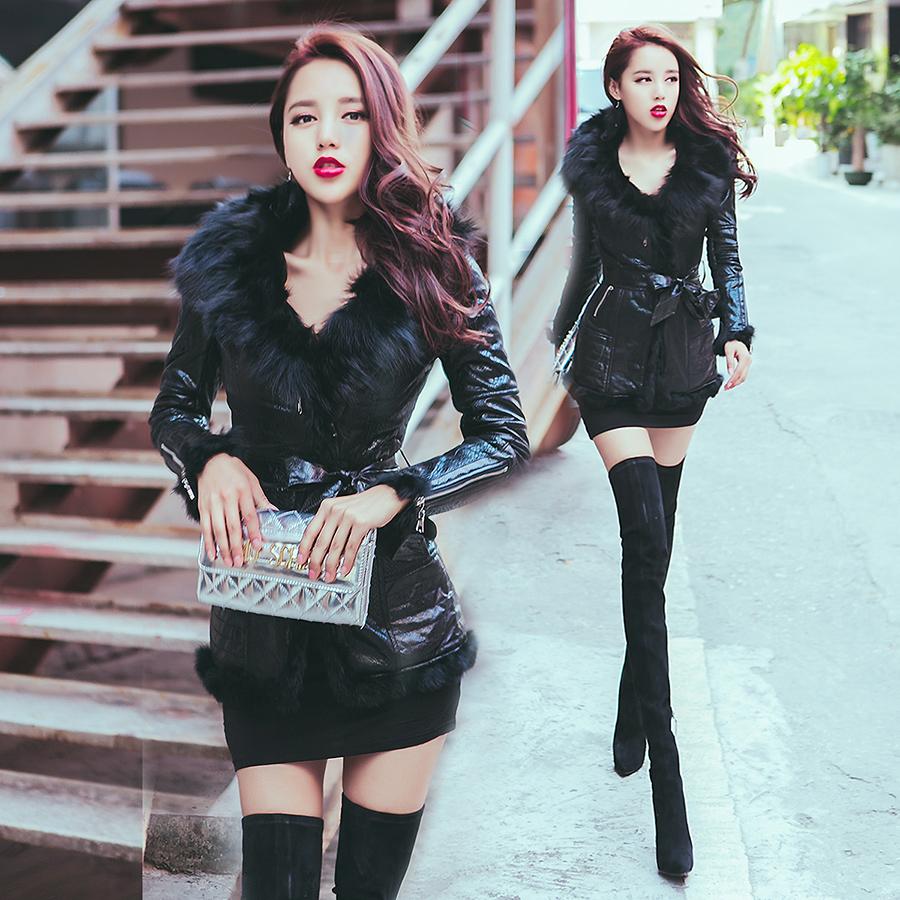 BOSSY LADY2015 really fox collar long section snakeskin pattern plus velvet leather coat female winter