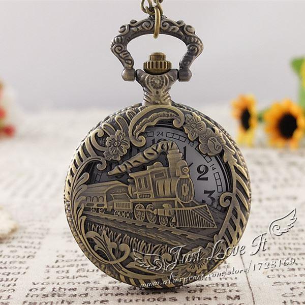 Vintage bronze Train Front Locomotive Engine Necklace Quartz Pocket Watch Chain Men Women Gift Relogio De Bolso5pce/lot<br><br>Aliexpress