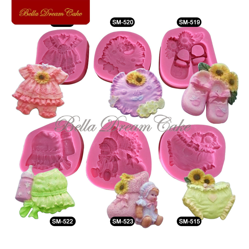 6pcs/set Baby Shower Cake Decorating Mold Shoes,Baby Bottle Fondant Silicone Mould Decorating Tools 3D Soap Mold SM-BABY-01(China (Mainland))
