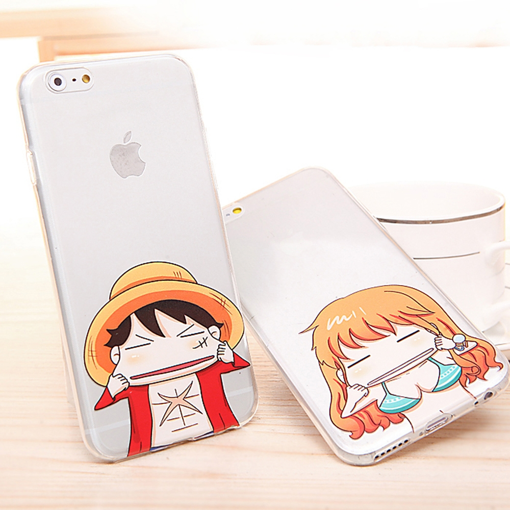 2015 New Cute Cartoon Kitty Luffy Ace Nami Naruto Spider-Man Iron Man Funny Face Transparent TPU Cover Case for iPhone 6 4.7inch(China (Mainland))