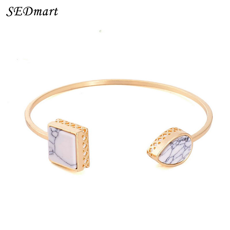 SEDmart Feather Marbled Howlite White Turquoise Cuff Bangle For Wmen Gold Plated Square Cube Leaf Stone Bracelet Bangles Women(China (Mainland))