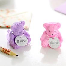 2 pcs/lot creative stationery cute cartoon bear backpack eraser pencil sharpener student school supplies free shipping 05204(China (Mainland))