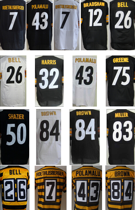 cheap Le'Veon Bell antonio brown,Roethlisberger Troy Polamalu Miller Ryan Shazier Steeler 80th Throwback elite Football Jerseys(China (Mainland))
