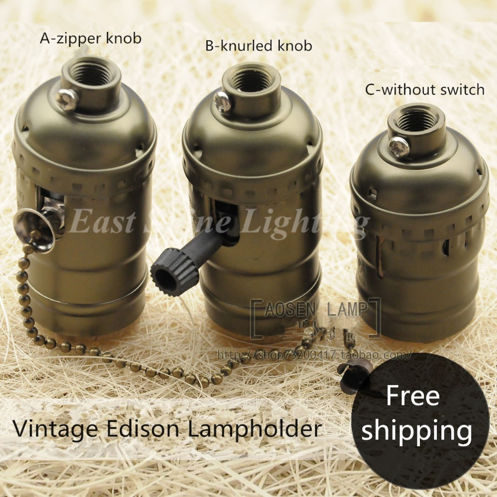 Vintage Retro E27 aluminum Green bronze lampholder pendant lamp Edison bulb lamp socket switch zipper switch lamp holder base(China (Mainland))