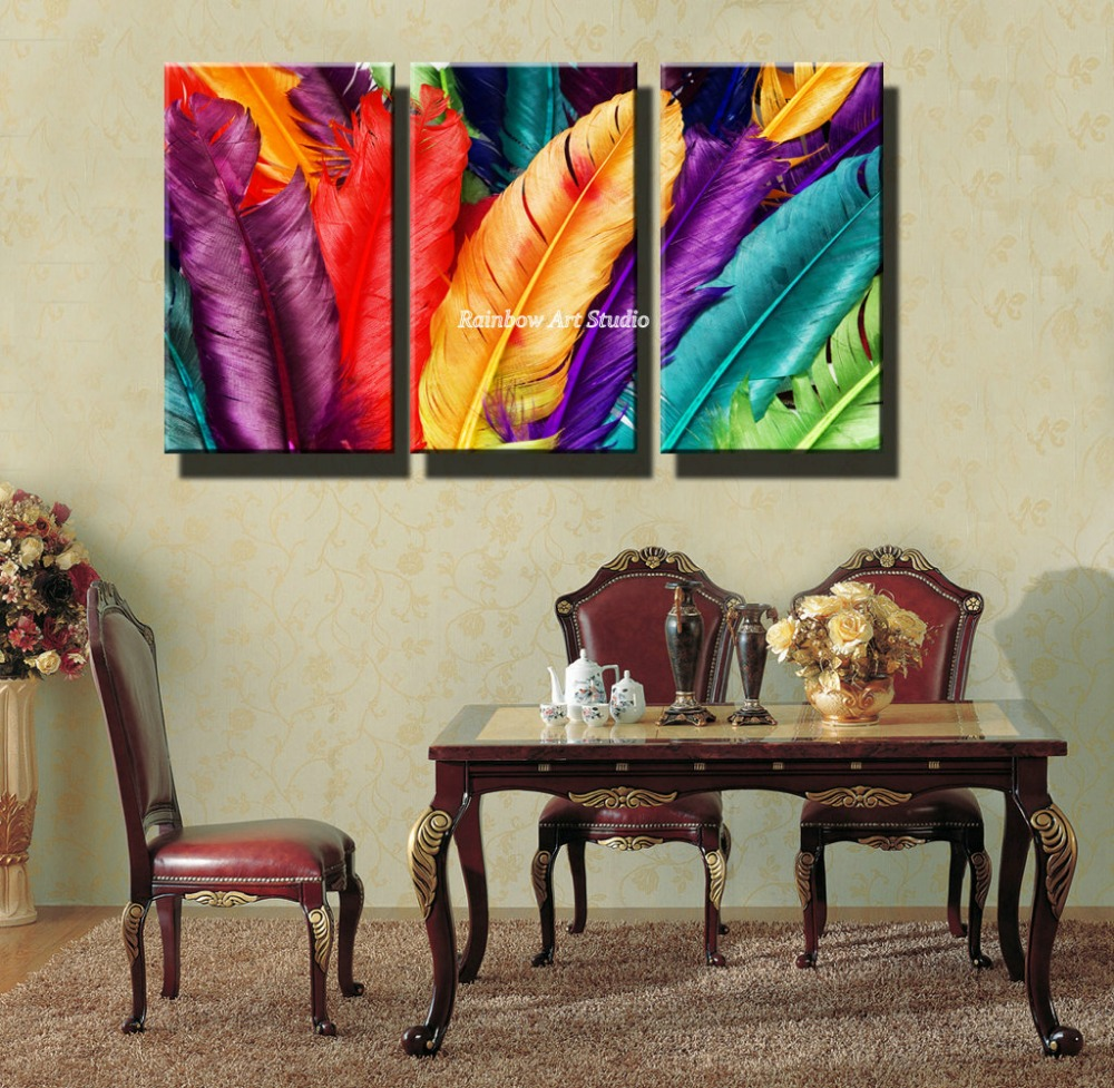 3 piece cheap colorful dinning room pinturas beautiful for Cheap art prints on canvas