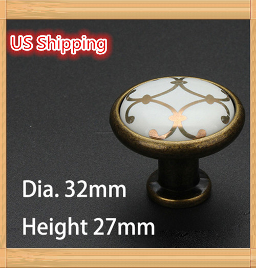 US Shipping 10pcs Golden Flower Printed Ceramic Zinc Alloy modern simple classic knob Kitchen Cabinet Furniture Handle knob(China (Mainland))