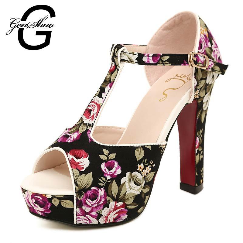 Summer Designer Sandals Floral Gladiator T-Strap Thick High Heels Shoes Flower Women Sandals Platform X601<br><br>Aliexpress