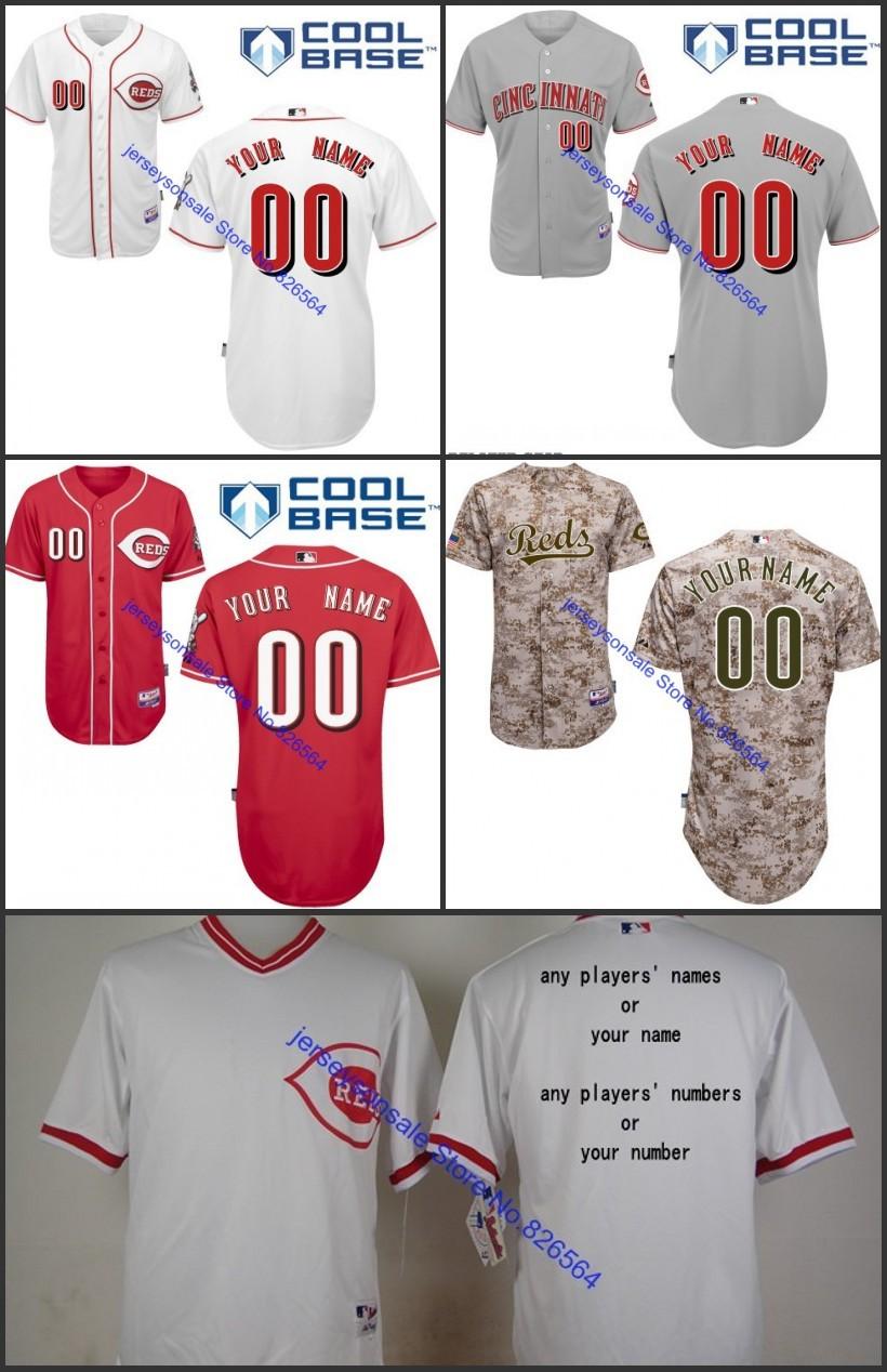 Custom Cincinnati Reds Mens Baseball Jerseys Personalized Jersey,100% Embroidery Accept Mixed Orders,Size S-XXXL(China (Mainland))