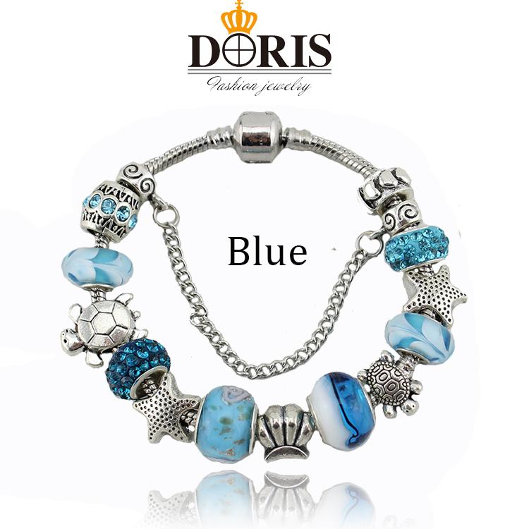 Ocean Style Blue Glass Beads Starfish Charm Bracelets & Bangles Silver European beads fits Pandora bracelets for Women Gift(China (Mainland))