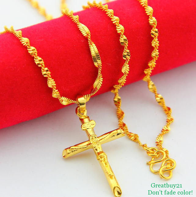 24KN-063 Free Shipping Yellow Gold Plated Designer Cross Pendant 2mm Twist Chains Necklace 24K Jewelry Wedding Birthday Gifts(China (Mainland))