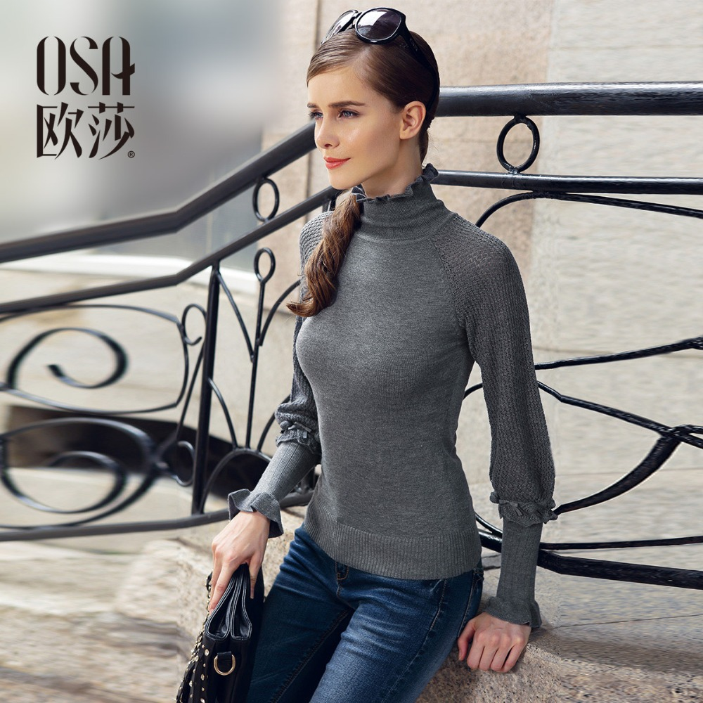 OSA 2014 Women Autumn Winter Fashion Turtleneck Sweater Lantern Sleeve Knitted Pullover Casual Knitwear In Stock SE12152(China (Mainland))