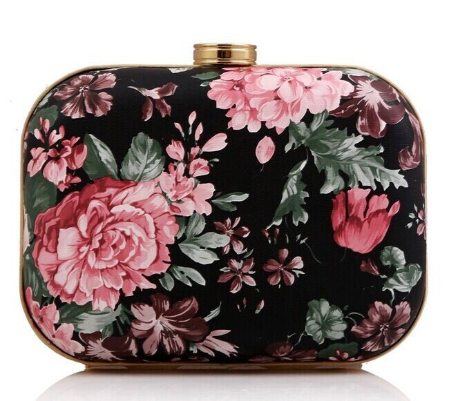 Free Shipping PU Clutches Women's Retro Clutch Evening Bag Rose Peony hard PACKER Lady Single Shoulder Handbag Flap Hard Case(China (Mainland))