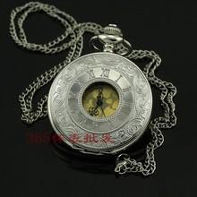 Antique Roma Number Pocket Watch Vintage Alloy Steampunk Bronze Necklace Pendant Chain relogio de bolso Gift Quartz Watch(China (Mainland))