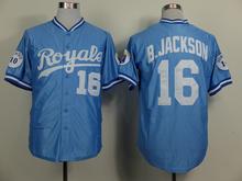 Bo Jackson Jersey Kansas City Royals 16# Throwback Baseball Jersey, Stitched Blue White High Quality(China (Mainland))