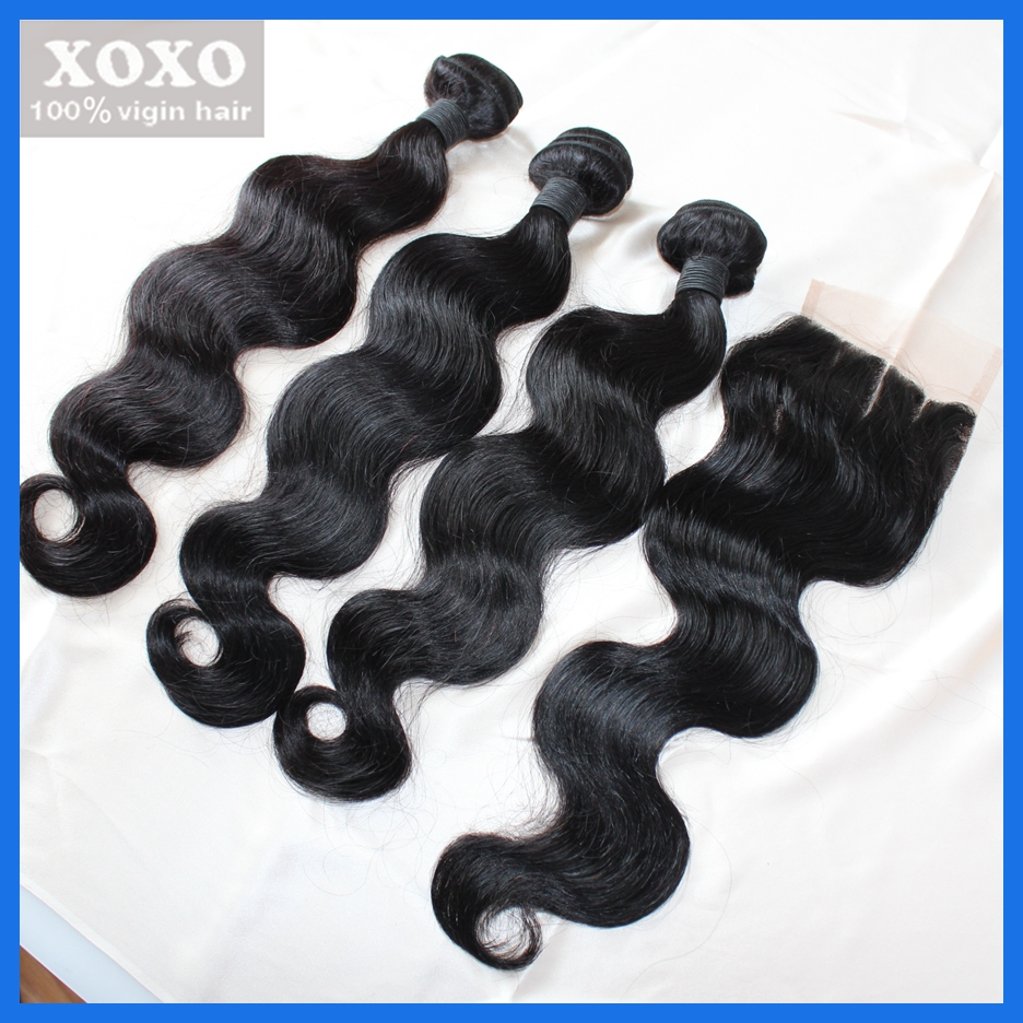 Brazilian Virgin Hair body wave with Closure 4pcs brazilian Lace Closure With hair Bundles unprocessed Human Hair Weave Deals<br><br>Aliexpress