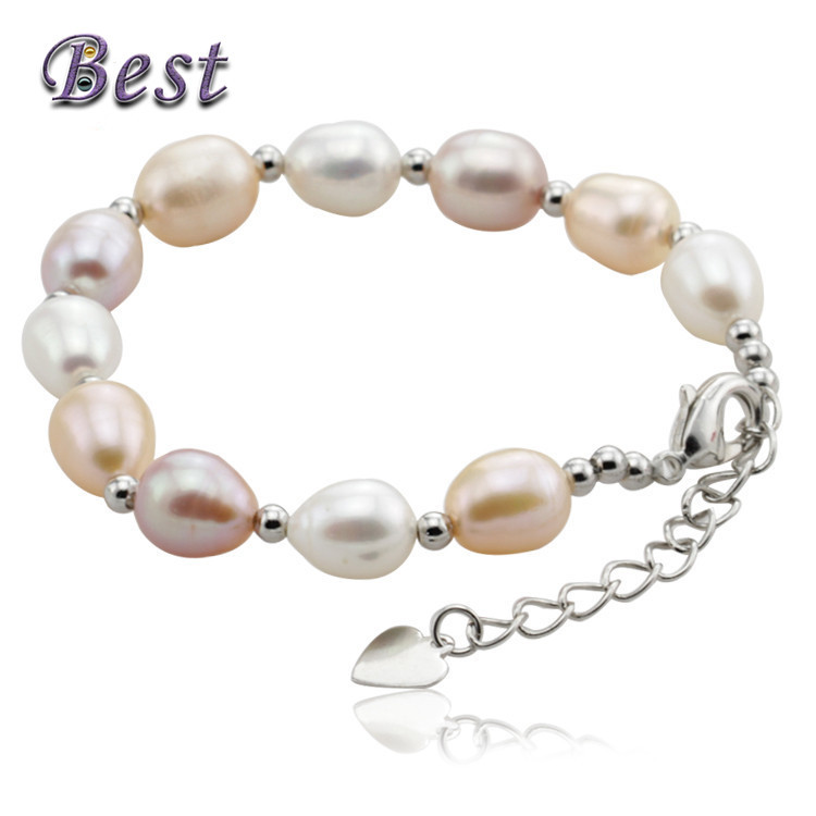 Best Pearl RealNatural Freshwater Pearl Bracelet with 925 sterling silver Clasp Cultured genuine Pearl Beads For Woman(China (Mainland))