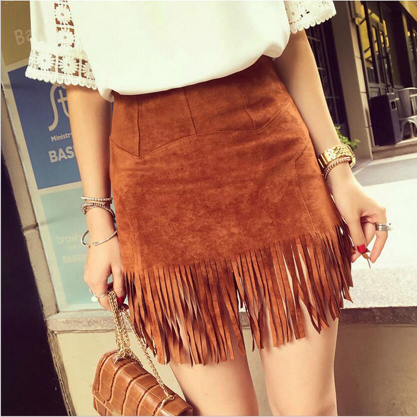 ew Women Suede Fringed Leather Skirt Fashion Package Hip High Waist Tassel Skirts Female Saia Feminina Solid Color  Spring