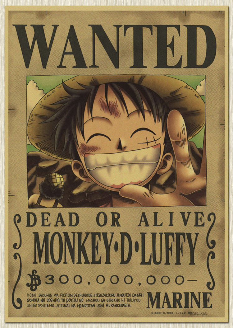 """Home Decor wall stickers Vintage Paper Retro anime poster - Luffy wanted 42*30cm(17""""X11"""")& One Piece Posters/kid cudi poster/Vin(China (Mainland))"""