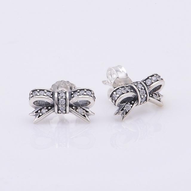 925-sterling-silver CZ камни с бантом серьгу для женщин DIY ювелирных изделий подходит известная марка ювелирных изделий
