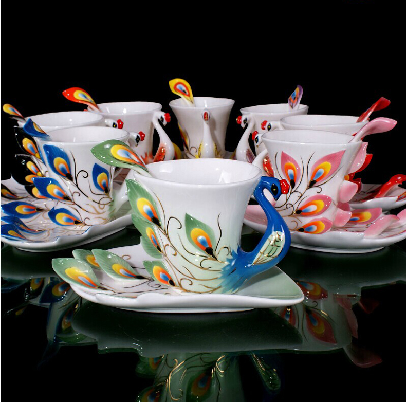 Set Of 3 Coffee Cup Canvas Wraps: Festival Gift Painting Creative Cup Bone China 3D Color