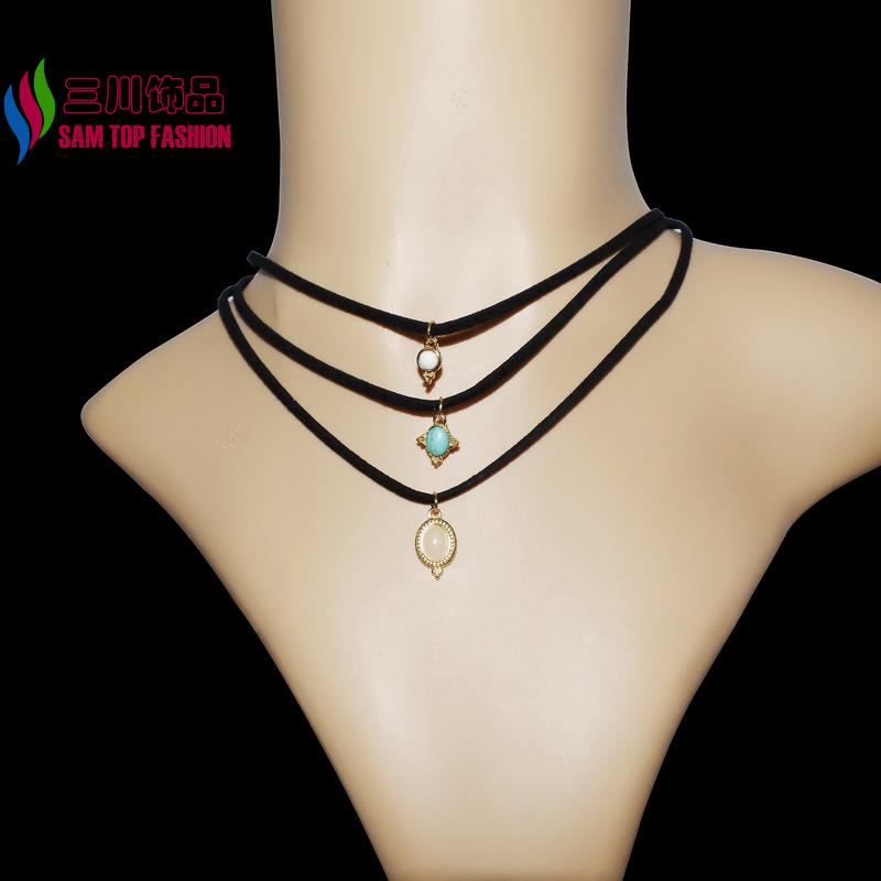 2016 new arrival women's Fashion Trendy 3Pcs Turquoise Faux Stone PU Leather Chokers Collar Necklaces Pendants Sets for party(China (Mainland))