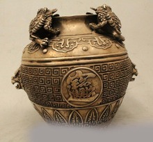"SD 8"" Marked Chinese Dyansty Silver Golden Toad Spittor Money Wealth Pot Jar Crock(China (Mainland))"