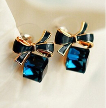 Blue Kiss E480 The  Fashion 2014  Chic Shimmer Gold Bow Cubic Crystal Earrings Gold-Tone GP  Rhinestone Stud Earrings For Women