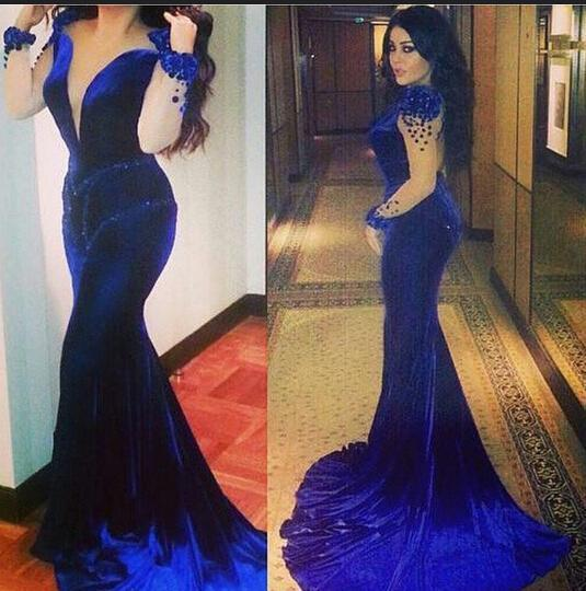Royal Blue Prom Dresses 2016 Sheer Illusion Crew Neckline Mermaid Long Sleeves Beading Velvet Court Train Party Gowns(China (Mainland))