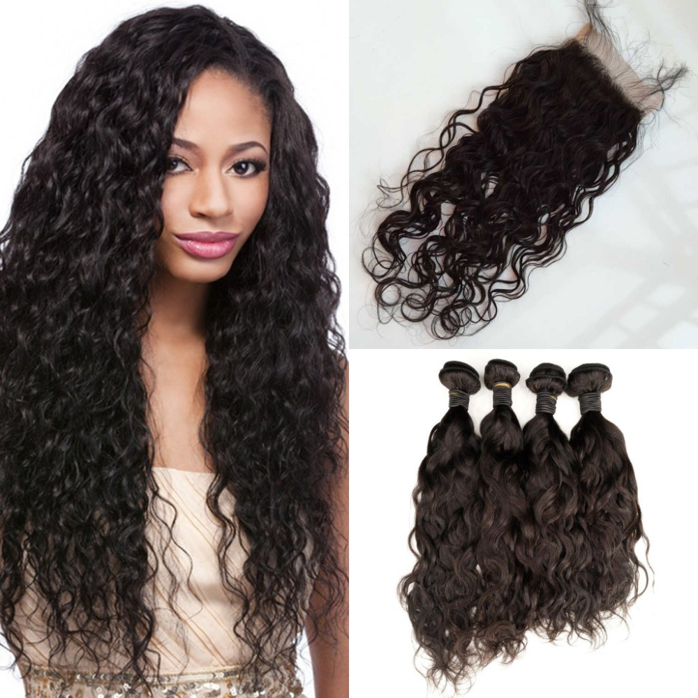 Grade 7a Water Wave Brazilian Virgin Hair With Closure 4 Bundle Human Hair Weft Weave With Closure free shipping<br><br>Aliexpress