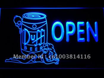 054-b Duff Beer OPEN Bar Girl LED Neon Light Sign