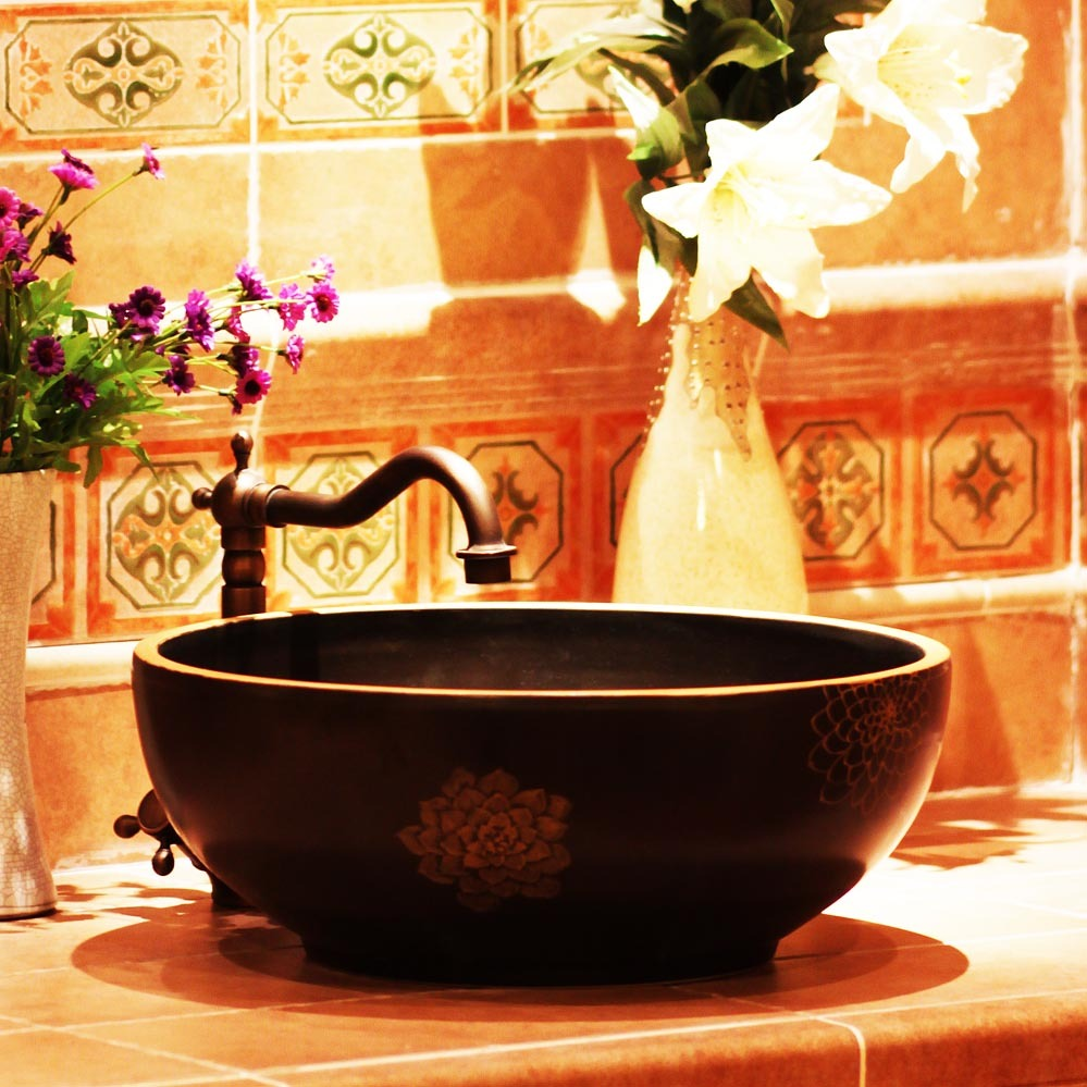 Sculpture table basin lavendered vintage chinese style wash pool matt 1193