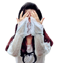 Creative Summer Women's Drive Sunscreen Sleevelet Long Chiffon Lace UV Sleevelet Dot Casual Perspective Sleevelet(China (Mainland))