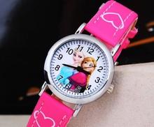 New Cartoon 2015 Frozen Elsa Anna Princess Watches Fashion Children Girls Kids Students Leather Sports Wristwatches 173106