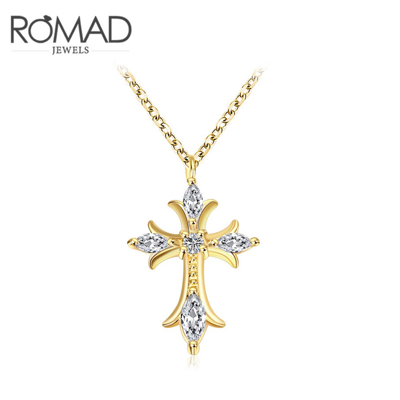 2017 Romad Charms Cross Crystal Long Necklace Gold Color Wedding Zircon Pendant Chains Jewelry Romantic Mother's Gifts(China (Mainland))