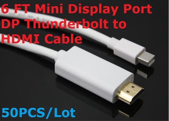 50PCS/Lot Hot Sale 6Ft Mini Display Port DP to HDMI Cable Adapter Audio Video for Apple Macbook Pro Air iMac Mac Mini Notebook(China (Mainland))