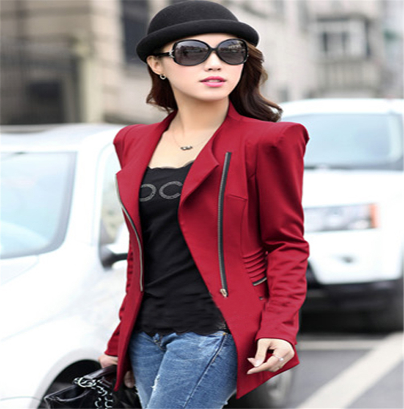 Новых проектов последние новинки женщины с длинным рукавом поло шея твердые тонкий свободного покроя костюм куртка женщин пальто молнии женщины тонкий слой TT