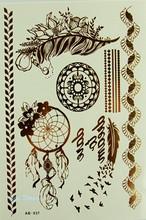 leaf flower  jewelry sticker tattoo metallic tattos golden flash tattoos tattoo large temporary tattoo prices tatoo sticker