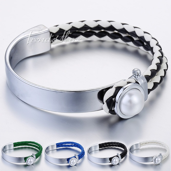 7mm Surf Womens White Simulated Pearl Multi Colors Braided Woven Man-made Leather Bracelet Bangle Wristband Gift LBM90 - TrendsMax Store(min order $10 store)